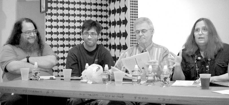 Kevin, Gordon, DGH, Teresa at NYRSF 20th anniversary reading photo by Houari B